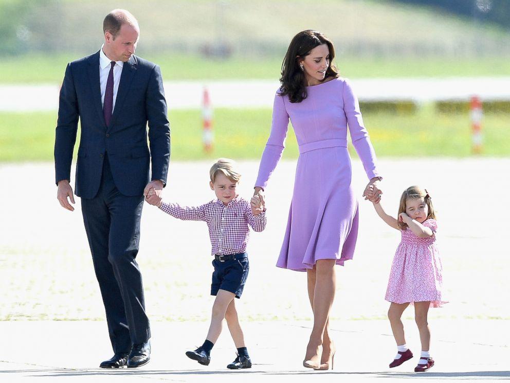 PHOTO: Prince William, Duke of Cambridge, Catherine, Duchess of Cambridge, Prince George of Cambridge and Princess Charlotte of Cambridge view helicopter models H145 and H135, July 21, 2017 in Hamburg, Germany.