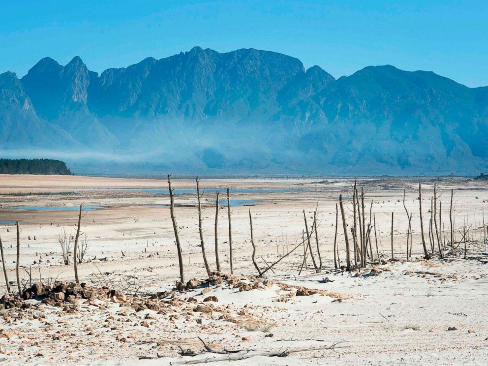 PHOTO: Bare sand and dried tree trunks stand out at Theewaterskloof Dam, which has less than 20% of its water capacity, near Villiersdorp, in this May 10, 2017 file photo.