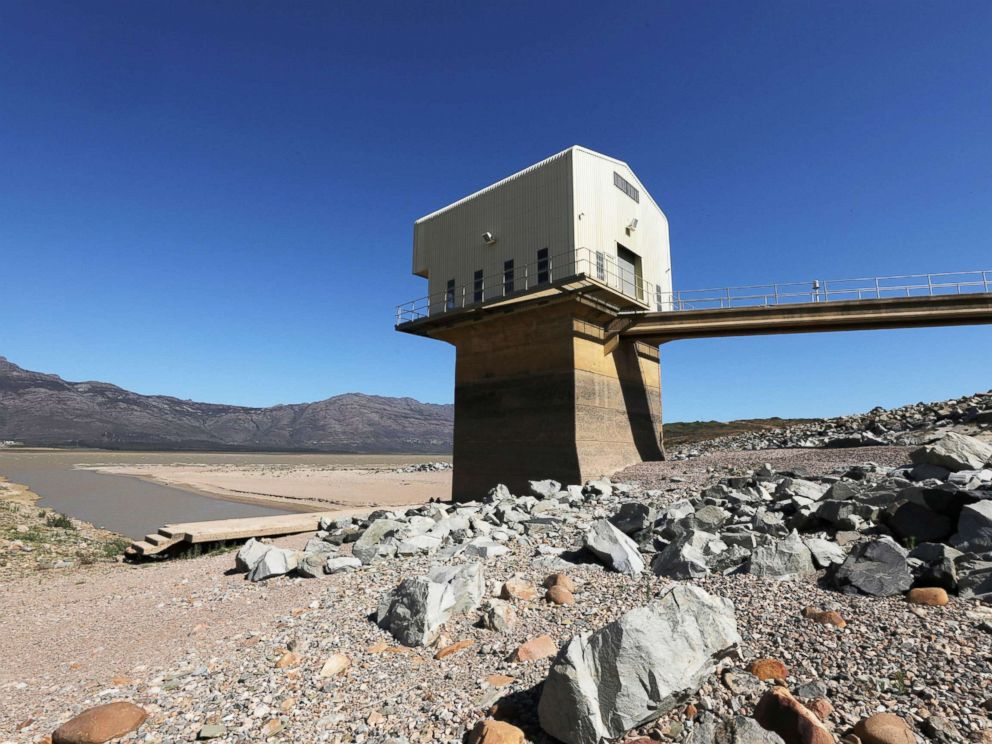 PHOTO: Water levels are seen at about 24 percent full at Voelvlei Dam, one of the regions largest water catchment dams, near Cape Town, South Africa in this Nov. 8, 2017 file photo.