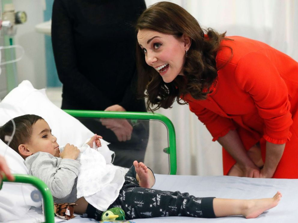 PHOTO: Kate, the Duchess of Cambridge reacts to patient Rafael Chana, 4, as she visits Great Ormond Street Hospital to officially open the Mittal Childrens Medical Centre, home to the new Premier Inn Clinical Building in London, Jan. 17, 2018.