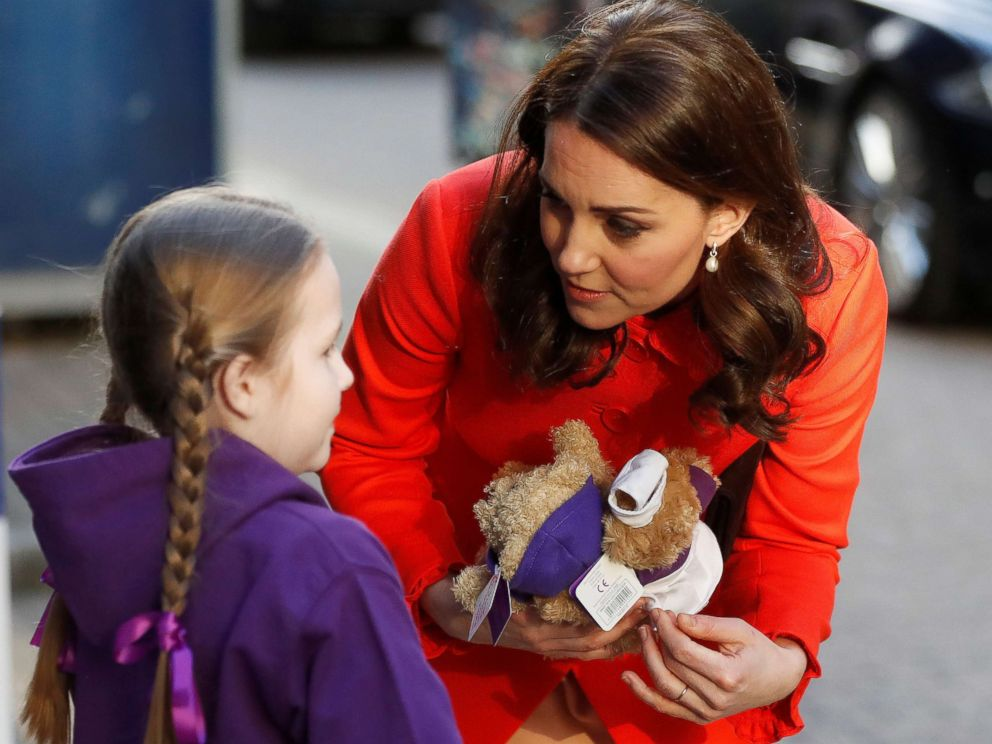 PHOTO: Kate, the Duchess of Cambridge, is given two teddy bears by patient Ava Watt as she arrives to visit Great Ormond Street Hospital to officially open the Mittal Childrens Medical Centre, in London, Jan. 17, 2018.