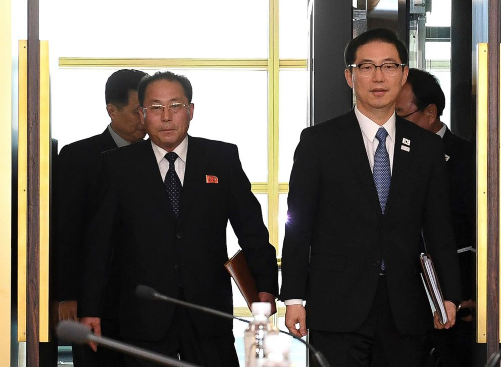 PHOTO: The head of North Korean delegation Jon Jong Su, left, and South Korean Vice Unification Minister Chun Hae-sung, right, as they arrived for their meeting to continue their discussions on Olympics cooperation, Jan. 17, 2018.