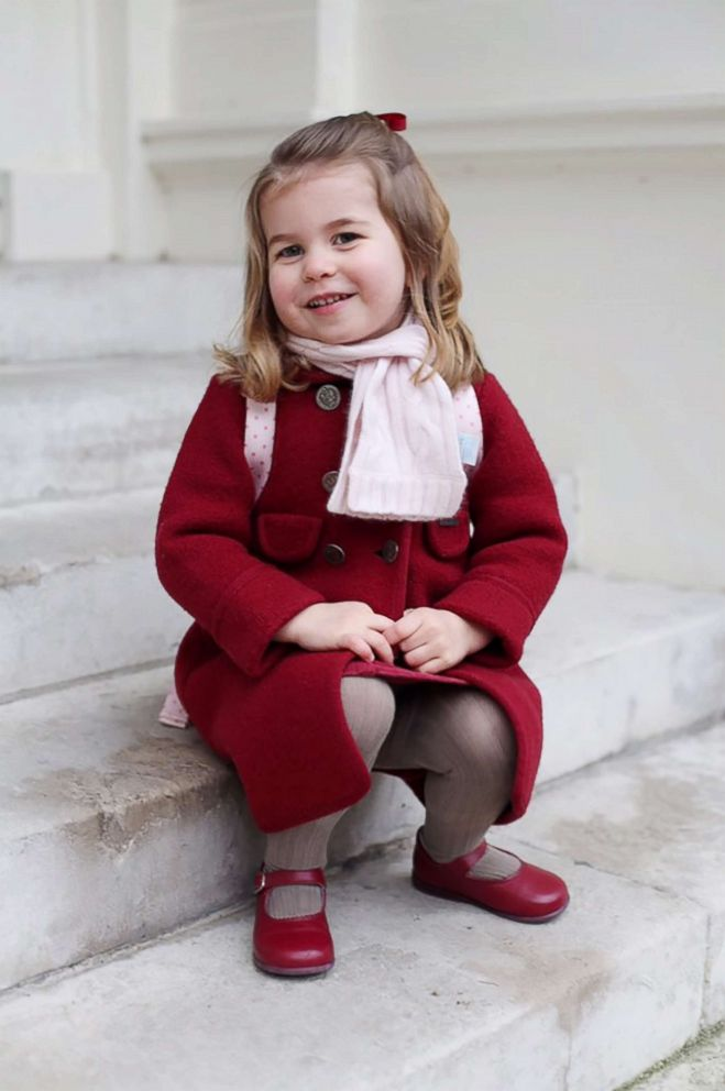 PHOTO: Princess Charlotte poses for a photo taken by her mother, Catherine, Duchess of Cambridge, at Kensington Palace shortly before she left for her first day of nursery at the Willcocks Nursery School, Jan. 8, 2018 in London.