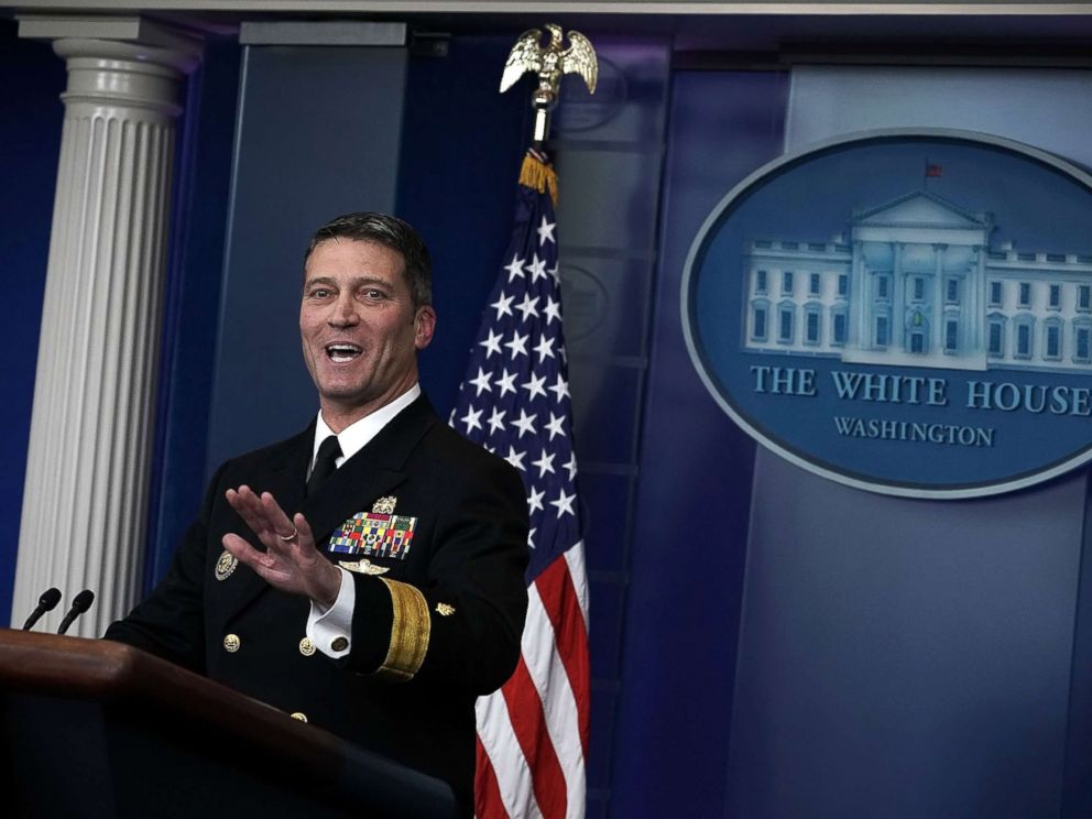PHOTO: Physician to President Donald Trump, Dr. Ronny Jackson speaks during the daily White House press briefing at the James Brady Press Briefing Room of the White House, Jan. 16, 2018, in Washington.