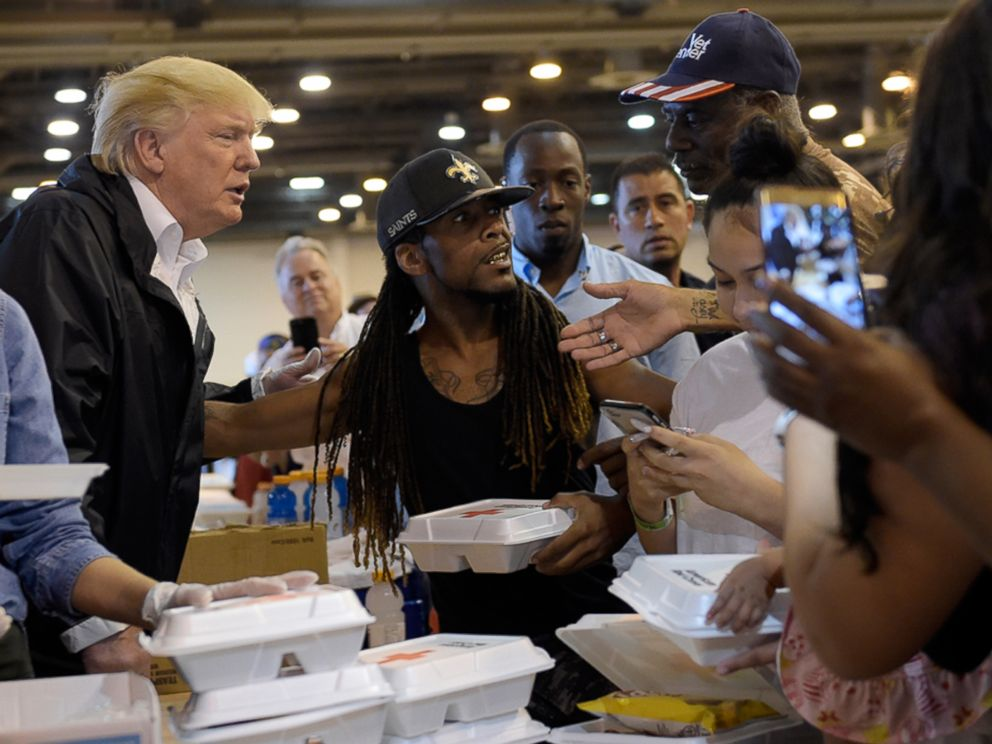 PHOTO: President Donald Trump and Melania Trump pass out food and meet people impacted by Hurricane Harvey during a visit to the NRG Center in Houston, Sept. 2, 2017.