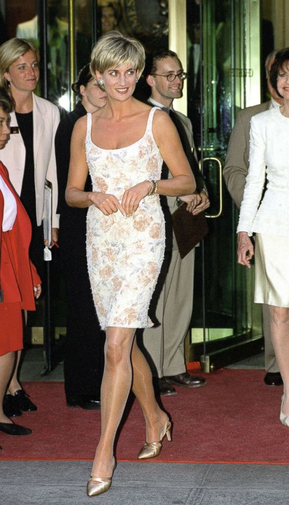 PHOTO: Diana, Princess Of Wales arrives for the Christies party in New York wearing a champagne colored dress designed by fashion designer Catherine Walker, June 23, 1997.