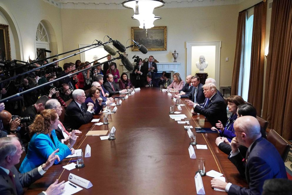 PHOTO: President Donald Trump speaks during a meeting with bipartisan members of Congress on school and community at the White House on Feb. 28, 2018.