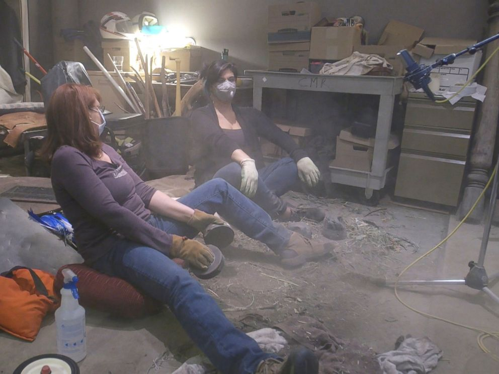 PHOTO: Foley artists Margie OMalley and Ronni Brown create the sound effects fathier creatures in Star Wars: The Last Jedi.