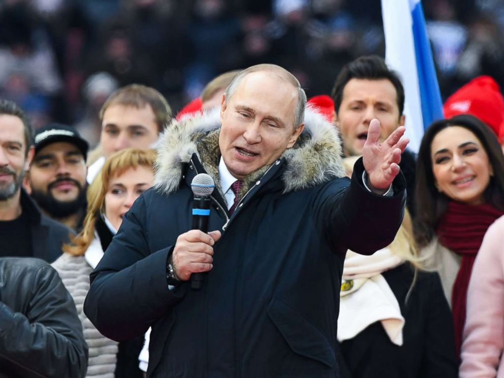 PHOTO: Russian President Vladimir Putin gives a speech during a rally in his support as a presidential candidate at the Luzhniki stadium in Moscow, March 3, 2018.