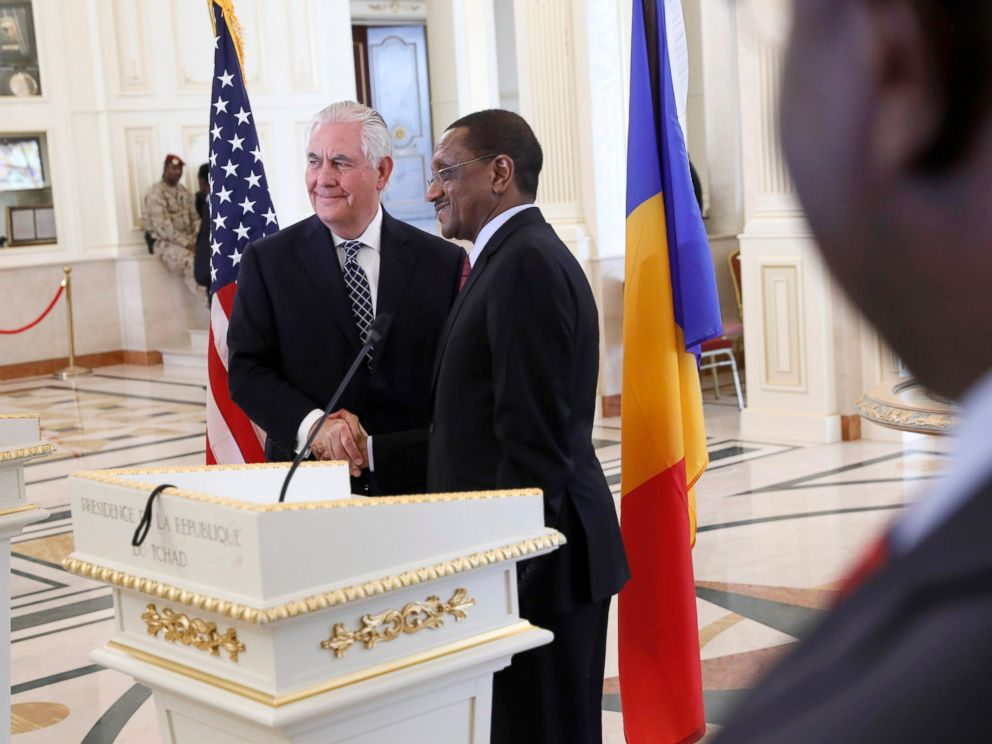 PHOTO: U.S. Secretary of State Rex Tillerson shakes hands after a news conference with Chads Foreign Minister Mahamat Zene Cherif in NDjamena, Chad, March 12, 2018.