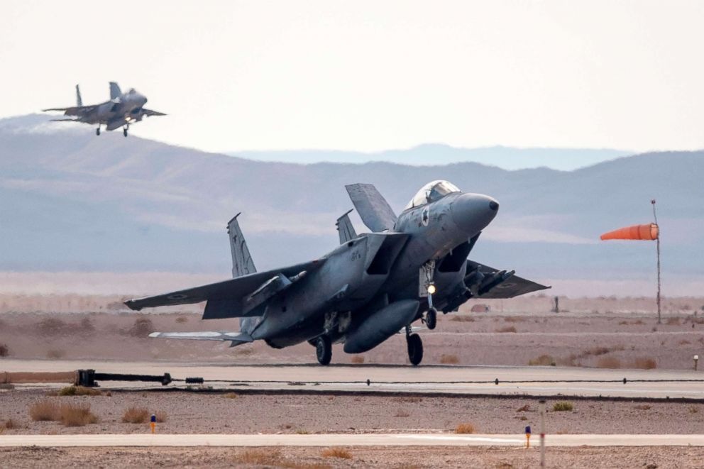 PHOTO: In this file photo dated Nov. 8, 2017, an F-15, belonging to the Israeli air force, lands during the Blue Flag multinational air defence exercise at the Ovda air force base, north of the Israeli city of Eilat.