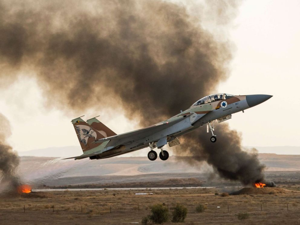 PHOTO: In this file photo dated Dec. 29, 2016, an Israeli F-15 fighter jet takes off during an air show at the graduation ceremony of Israeli air force pilots at the Hatzerim base in the Negev desert, near the southern Israeli city of Beer Sheva.