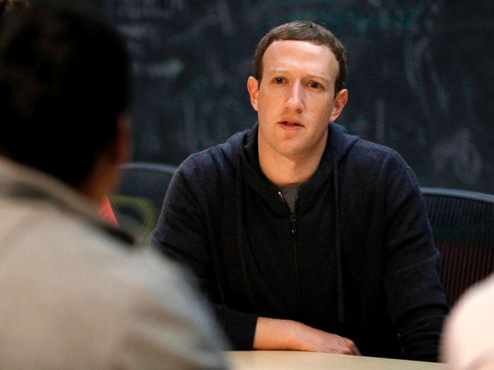 PHOTO: In this Nov. 9, 2017, file photo, Facebook CEO Mark Zuckerberg meets with a group of entrepreneurs and innovators during a round-table discussion in St. Louis.