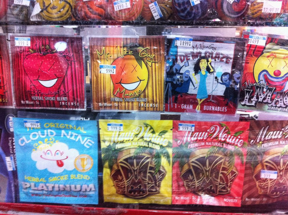 PHOTO: Synthetic marijuana, sold in colorful packages with names like Cloud Nine, Maui Wowie and Mr. Nice Guy, sits behind the glass counter at a Kwik Stop in Hollywood, Fla.