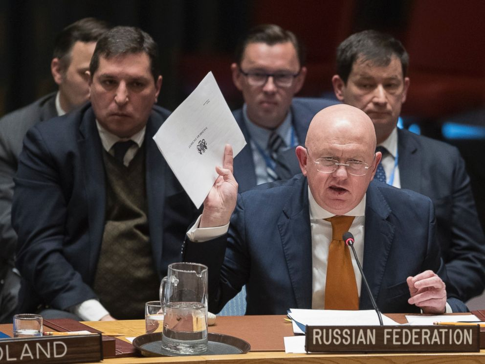 Russian Ambassador to the United Nations Vassily Nebenzia, seen here in a file photo from April 5, 2018 at United Nations headquarters, said no chemical weapons were used in Syria.