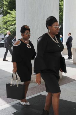 PHOTO: Lynette Hardaway and Rochelle Richardson, also known as Diamond and Silk arrive to testify before the House Judiciary Committee at the Rayburn House Office Building on Capitol Hill, April 26, 2018, in Washington.