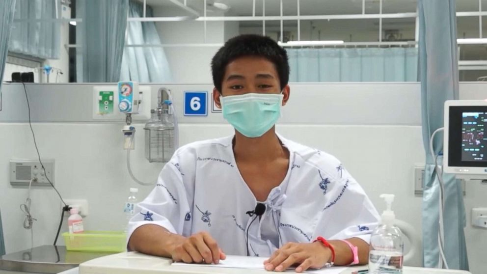PHOTO: Adul Sam-on, 14, appears in a video message from a hospital in Chiang Rai, Thailand, July 13, 2018.